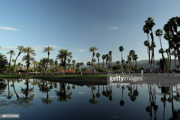 A general view of the par 3 14th green late in the afternoon during the second round of the 2017 ANA Inspiration held on the Dinah Shore Tournament...