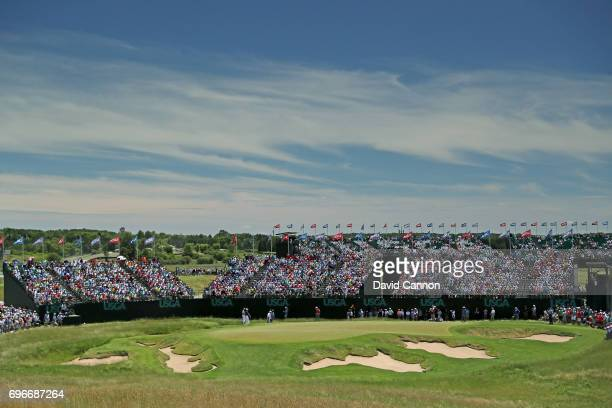 A general view of the par 3 ninth hole during the second round of the 117th US Open Championship at Erin Hills on June 16 2017 in Hartford Wisconsin