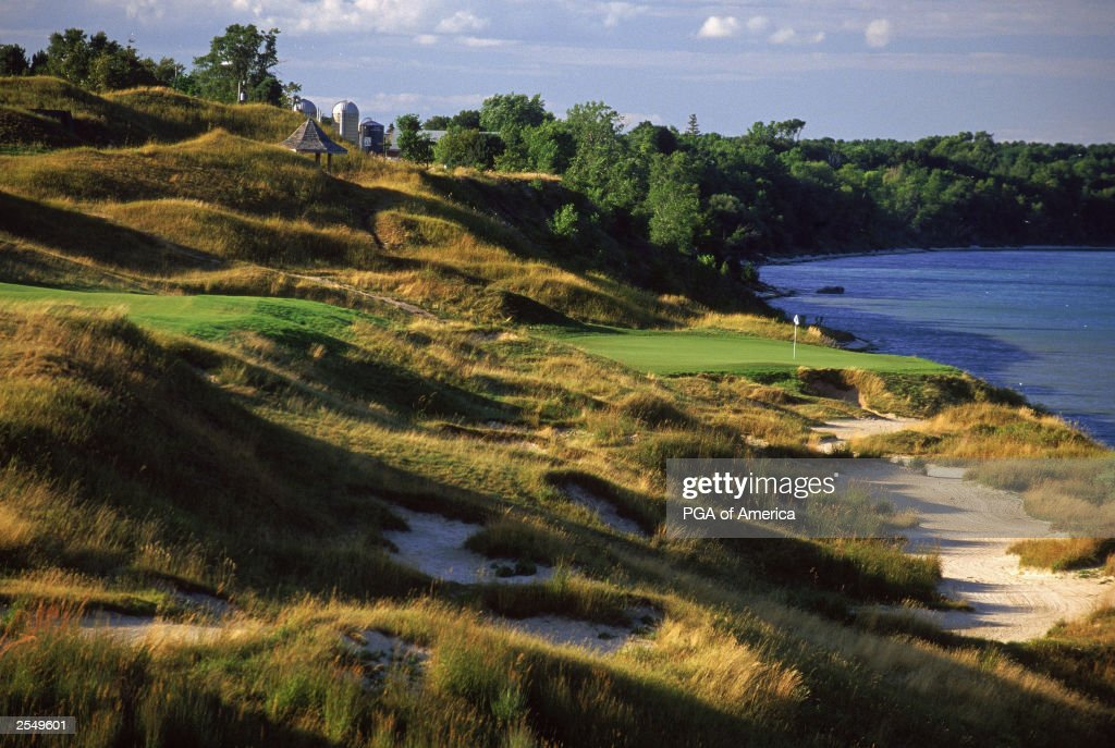 General view of the par 4 13th hole at Whistling Straits Golf Course site of the 2004 PGA Championship on September 2 2003 in Kohler Wisconsin Rough...