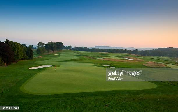 A general view of the par 4 18th hole at 2016 US Open site Oakmont Country Club on September 8 2015 in Oakmont Pennsylvania
