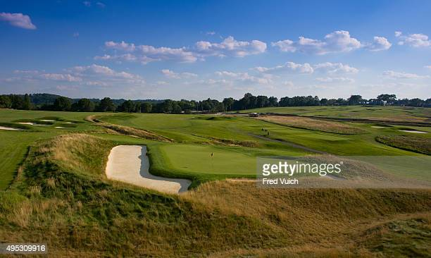 A general view of the par 4 Fifth hole at 2016 US Open site Oakmont Country Club on July 23 2015 in Oakmont Pennsylvania