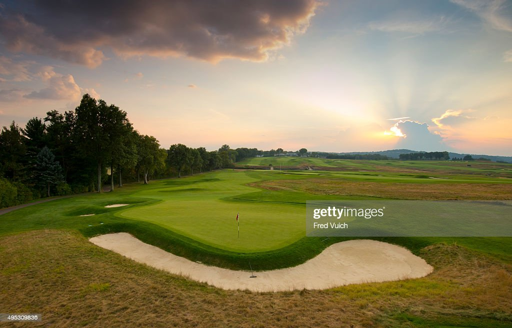 A general view of the par 4 Second hole at 2016 US Open site Oakmont Country Club on September 2 2015 in Oakmont Pennsylvania