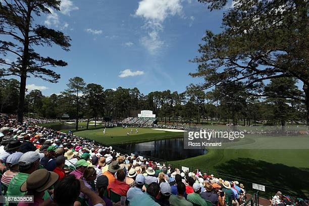 A general view of the par five 15th hole during the second round of the 2013 Masters at the Augusta National Golf Club on April 12 2013 in Augusta...