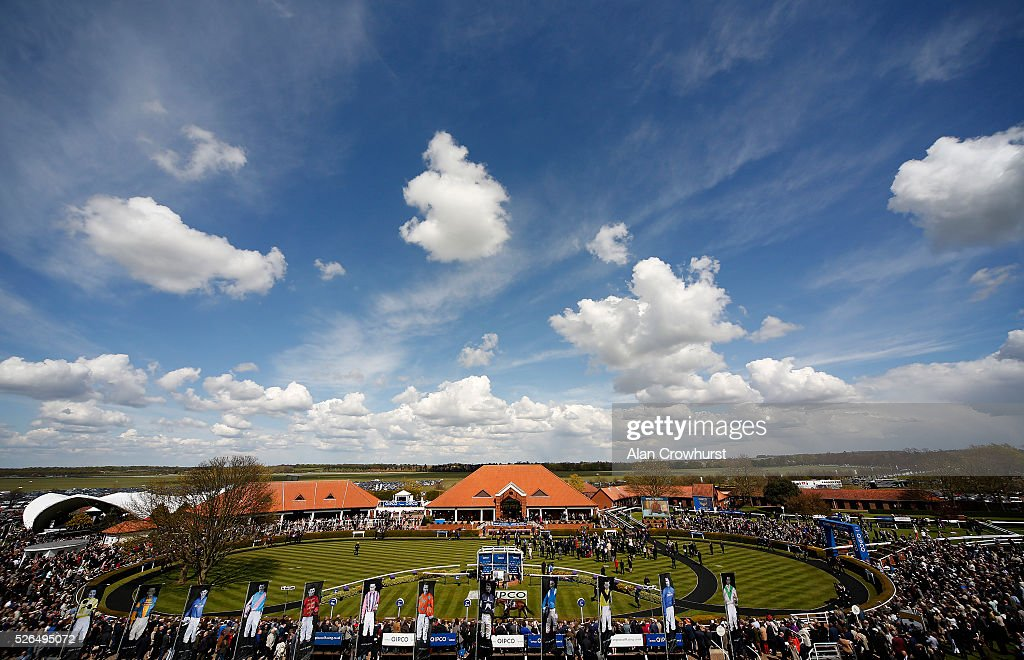 A general view of the parade ring at Newmarket racecourse on April 30, 2016 in Newmarket, England.