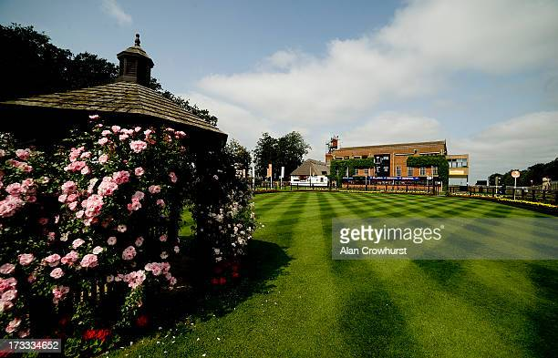 A general view of the parade ring on the July course at Newmarket racecourse on July 12 2013 in Newmarket England