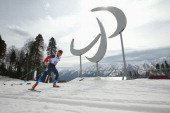 A general view of the Paralympic agitos is seen as Oleg Ponomarev of Russia competes in the men's 75km visually impaired Biathlon during day one of...