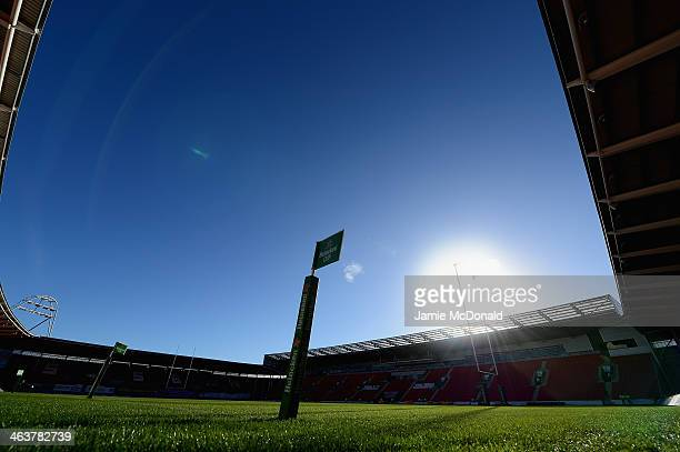 A general view of the Parc y Scarlets during the Heineken Cup Pool 4 match between Scarlets and Harlequins at Parc y Scarlets on January 19 2014 in...