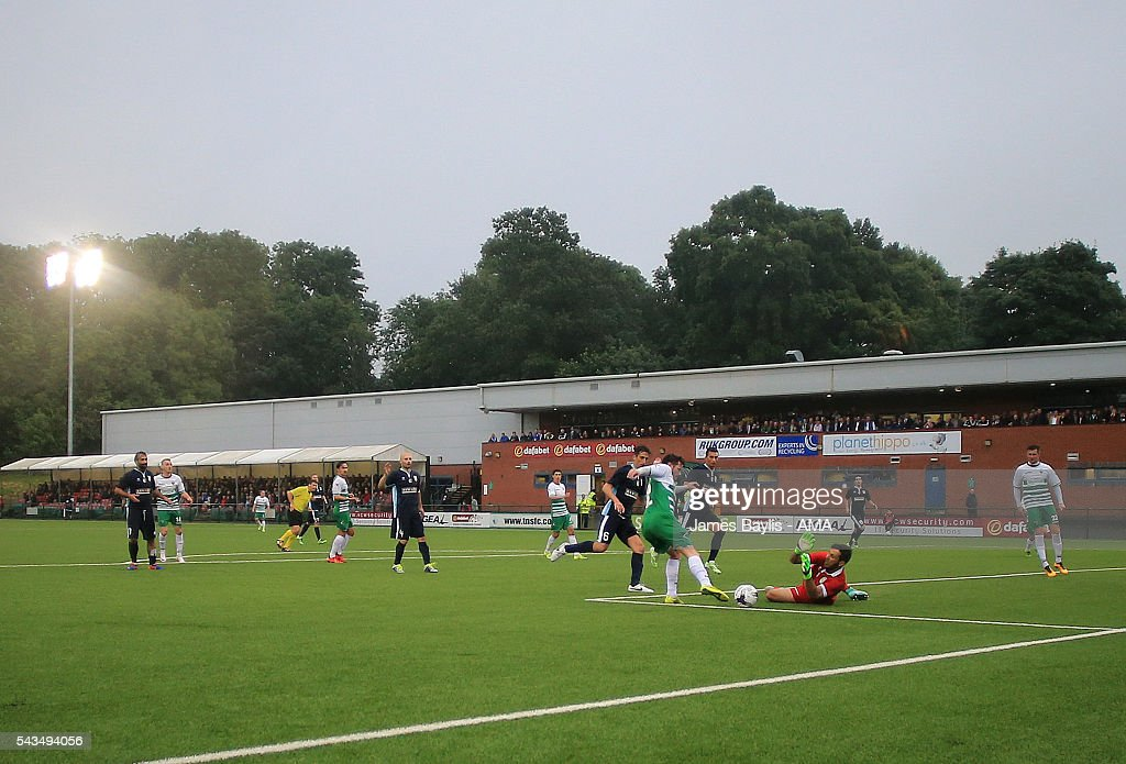 A general view of the Park Hall Stadium during the UEFA Champions League First Round Qualifier match between The New Saints and SP Tre Penne at Park Hall on June 28, 2016 in Oswestry, England.
