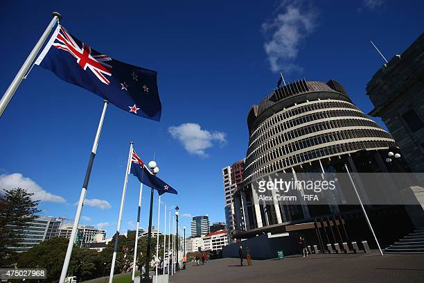 A general view of the parliament buildings ahead of the FIFA U20 World Cup New Zealand 2015 on May 29 2015 in Wellington New Zealand