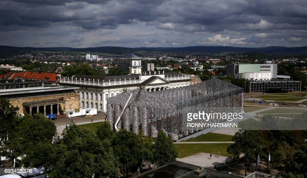 General view of the 'Parthenon of Books' by Argentinian artist Marta Minujin at the Documenta 14 art exhibition in Kassel on June 7 2017 The...