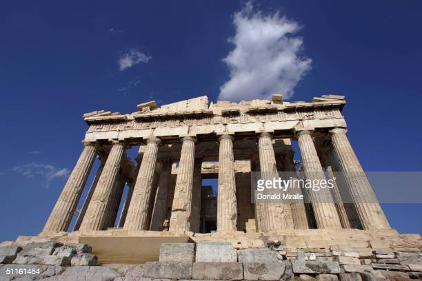 A general view of the Parthenon which was constructed in 447 to 432BC when the Athenian Empire was at the height of its power on August 11 2004 prior...
