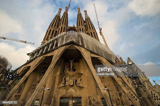 A general view of the Passion's facade of 'La Sagrada Familia' on October 26 2015 in Barcelona Spain'La Sagrada Familia' Foundation announced on...
