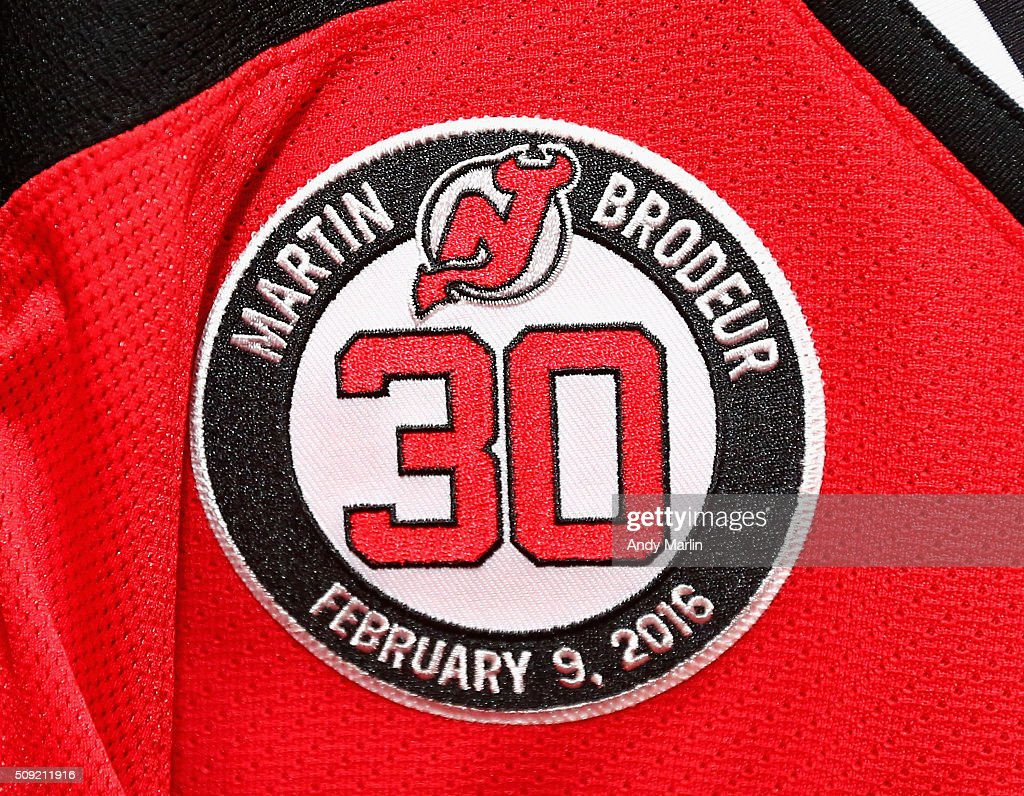 A general view of the patch the New Jersey Devils will wear on their game jerseys in honor of the retirement of Brodeur's # 30 jersey during the game against the Edmonton Oilers at the Prudential Center on February 9, 2016 in Newark, New Jersey.