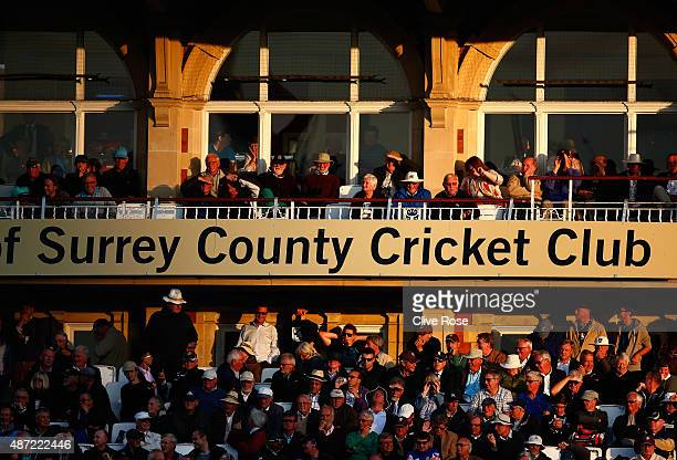 A general view of the pavillion as the light fades during the Royal London OneDay Cup Semi Final between Surrey and Nottinghamshire at The Kia Oval...