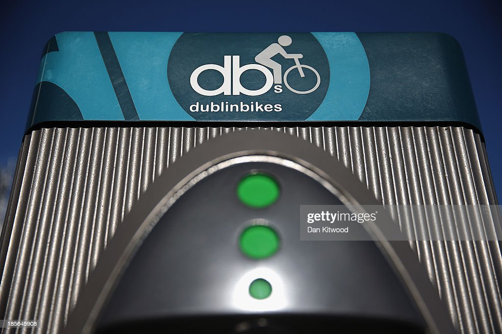 A general view of the pay booth for one of Dublin's bike hire scheme bikes on October 23, 2013 in Dublin, Ireland. Dublin is the capital city of The Republic of Ireland situated in the province of Leinster at the mouth of the River Liffey. The greater Dublin area has a population of around 1.5 Million people.