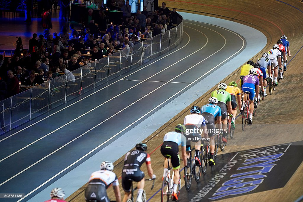 General view of the peloton during day three at the Copenhagen Six Days Race Cycling at Ballerup Super Arena on February 6, 2016 in Ballerup, Denmark.