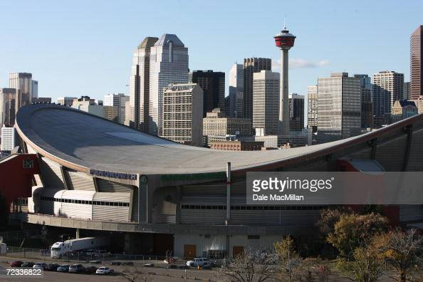 General view of the Pengrowth Saddledome and the Calgary skyline before the NHL game between the Edmonton Oilers and the Calgary Flames on October 7...