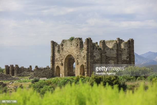 A general view of the Perga an ancient Anatolian city in Antalya Turkey on April 13 2017 Aspendos and Perga are two of the most touristic places...