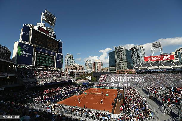 A general view of the PETCO Park stadium showing Colin Fleming and Dominic Inglot of Great Britain in action against Bob Bryan and Mike Bryan of the...