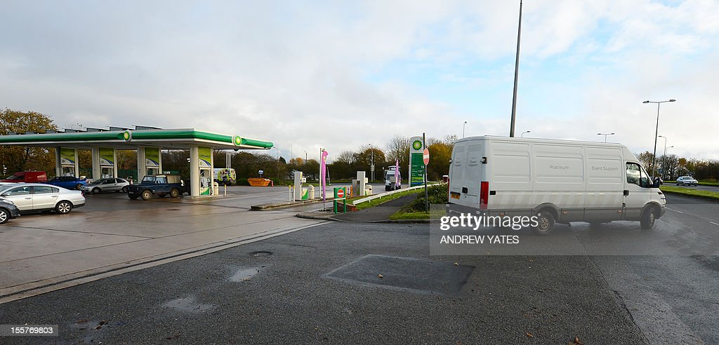 A general view of the petrol station and Crow Orchard road in Wrightington, north-west England on November 8, 2011 where Olympic gold medal cyclist Bradley Wigging was knocked off his bike by a motorist while out training. Tour de France winner Bradley Wiggins left hospital Thursday after a training crash but in a black day for British cycling his team coach suffered head injuries in a separate accident.