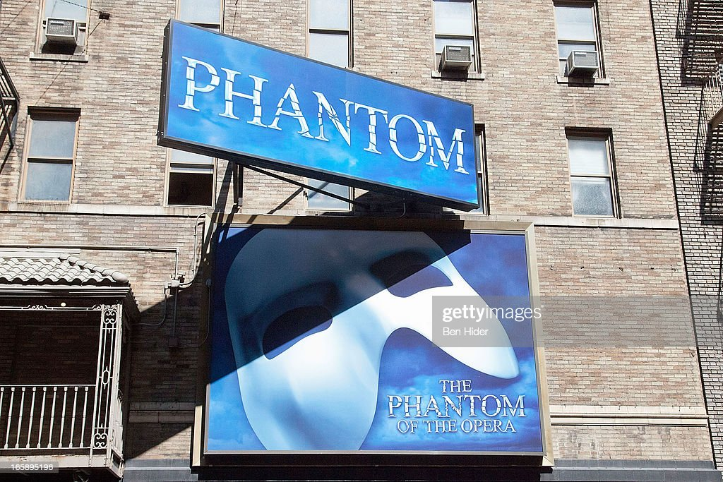 A general view of the Phantom of the Opera billboard sign on April 5, 2013 in New York City.