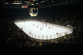 General view of the Philadelphia Flyers and the New York Islanders game on March 25 1980 at the Nassau Coliseum in Uniondale New York