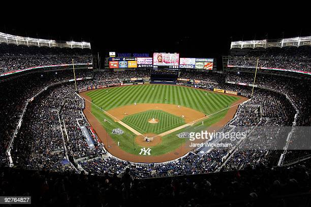A general view of the Philadelphia Phillies batting against the New York Yankees in Game Six of the 2009 MLB World Series at Yankee Stadium on...