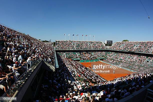 A general view of the Philippe Chatrier court during the men's singles first round match between JoWilfried Tsonga of France and Daniel Brands of...