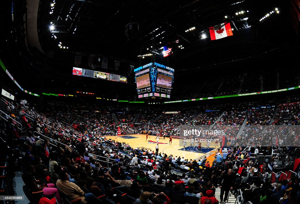 A general view of the Philips Arena during the Atlanta Hawks game against the Cleveland Cavaliers on December 6, 2013 at Philips Arena in Atlanta, Georgia.