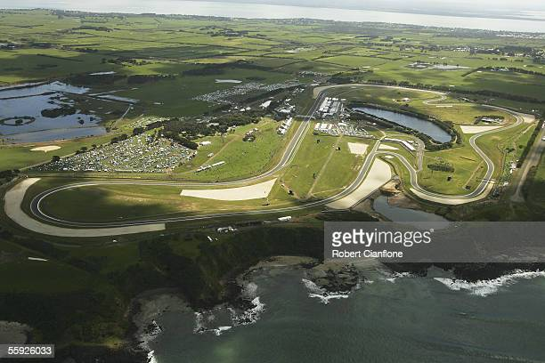 A general view of the Phillip Island Circuit during practice for the Australian MotoGP at the Phillip Island Circuit on October 15 2005 in Phillip...