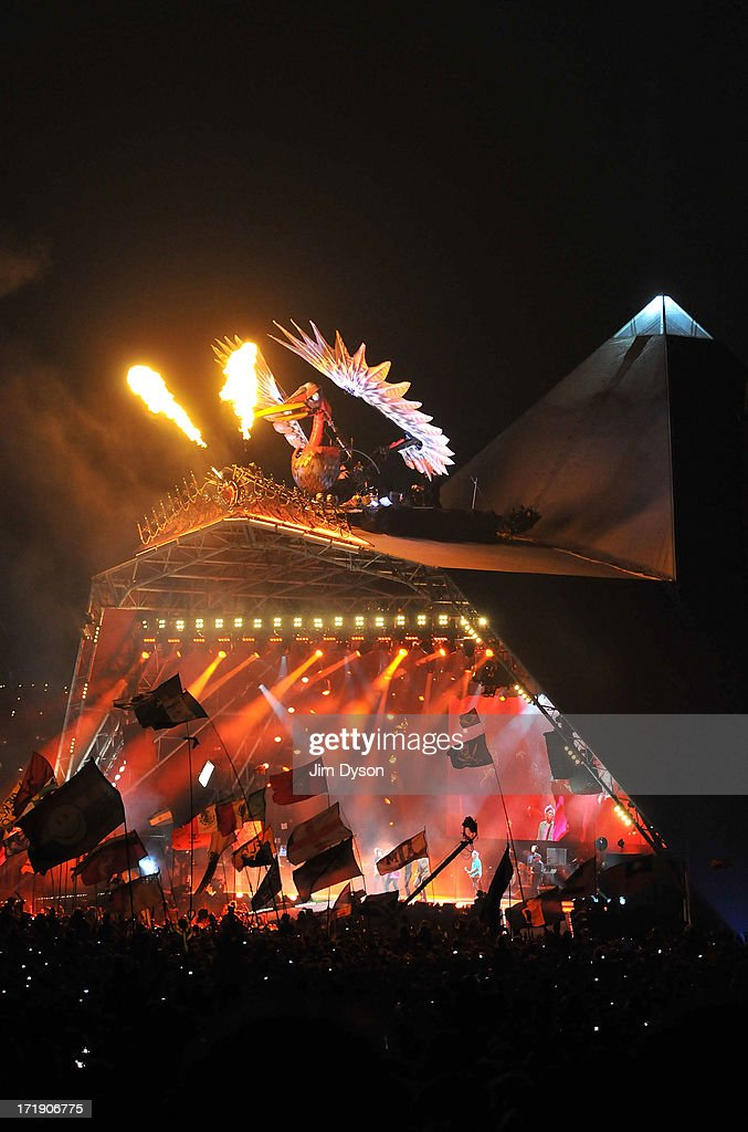 A general view of the phoenix as the Rolling Stones perform on the Pyramid stage during day 3 of the 2013 Glastonbury Festival at Worthy Farm on June 29, 2013 in Glastonbury, England.