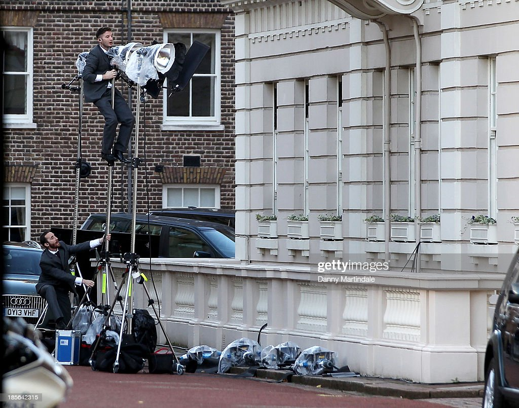 A general view of the photographers lighting outside St James' Palace after the christening of the three month-old Prince George of Cambridge by the Archbishop of Canterbury at St James' Palace on October 23, 2013 in London, England.