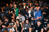 General view of the photographers pit at the tents in Bryant Park during MercedesBenz Fashion Week on September 12 2008 in New York City