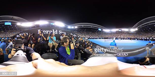 A general view of the photographers pit during the second round match between David Ferrer of Spain and Lleyton Hewitt of Australia during day four...