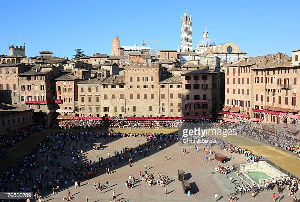 A general view of the Piazza del Campo prior to the second rehearsal for the Palio also called Prova on August 14 2013 in Siena The socalled Tratta...