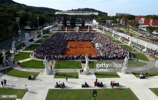 General view of the Pietrangeli Arena full of fans during the men's third round match between Del Potro v Nishikori on Day Five of the Internazionali...