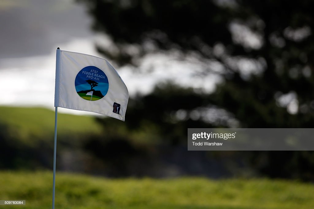 A general view of the pin flag on the eighth green during the second round of the AT&T Pebble Beach National Pro-Am at the Pebble Beach Golf Links on February 12, 2016 in Pebble Beach, California.