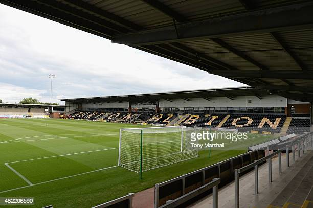 A general view of The Pirelli Stadium home of Burton Albion during the Pre Season Friendly match between Burton Albion and Leicester City at Pirelli...