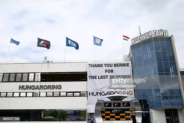 A general view of the pit lane building during the Formula One Grand Prix of Hungary at Hungaroring on July 26 2015 in Budapest Hungary