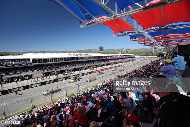 A general view of the pit straight shows the start of race one of the Clipsal 500 which is round one of the V8 Supercar Championship Series at the...