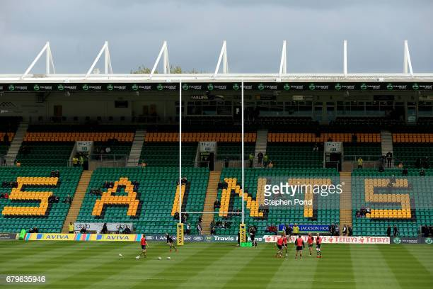 A general view of the pitch ahead of the Aviva Premiership match between Northampton Saints and Harlequins at Franklin's Gardens on May 6 2017 in...