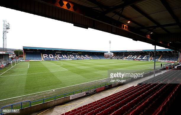 General view of the pitch ahead of the Budweiser FA Cup third round match between Rochdale and Leeds United at Spotland Stadium on January 4 2014 in...