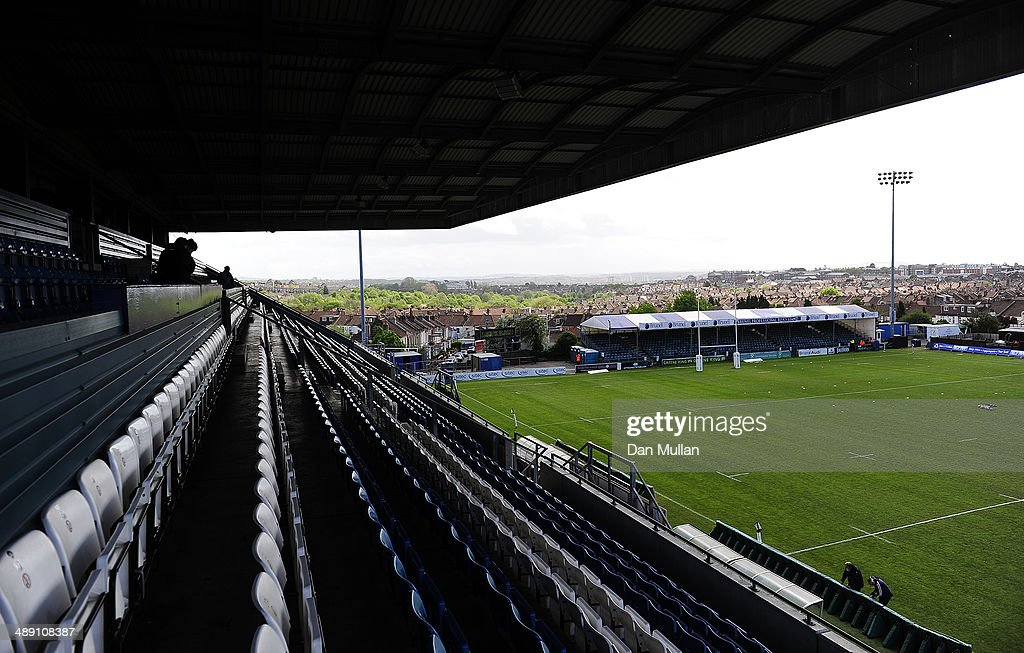 A general view of the pitch ahead of the Greene King IPA Championship Play Off First Leg match between Bristol Rugby and Rotherham Titans at The Memorial Ground on May 10, 2014 in Bristol, England.
