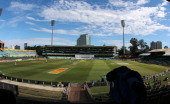 General view of the pitch and playing area from the grandstand during Day 2 of the second Cricket Test Match between India and South Africa at the...