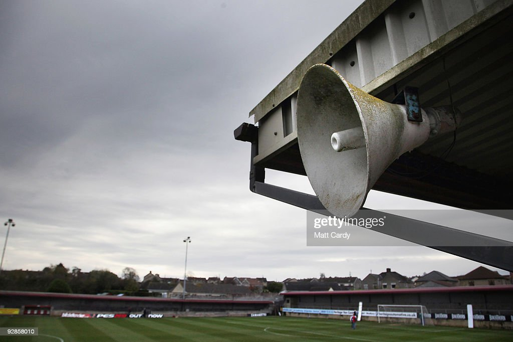 A general view of the pitch as groundsmen complete final preperations at Paulton Rovers Football Club on November 6 2009 in Paulton England Nonleague...