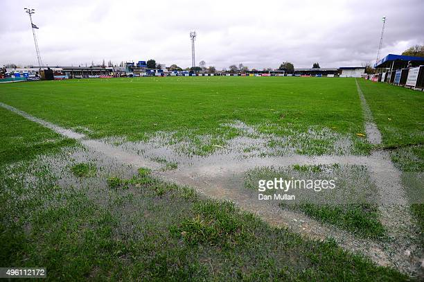 A general view of the pitch as water gathers near the corner flag prior to the FA Cup First Round match between Wealdstone and Colchester United at...