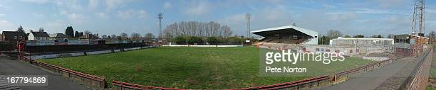 A general view of the pitch at the Elgoods Brewery ArenaRockingham Roadthe former home of Kettering Town FC on April 25 2013 in Kettering England