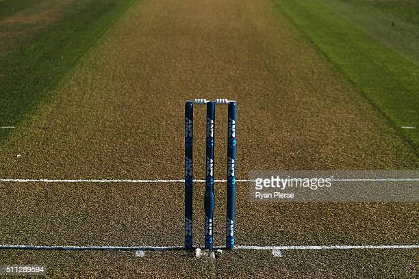 A general view of the pitch before day one of the Test match between New Zealand and Australia at Hagley Oval on February 20 2016 in Christchurch New...