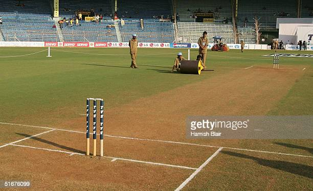 A general view of the pitch before day three of the Fourth Test between India and Australia at Wankhede Stadium on November 5 2004 in Mumbai India