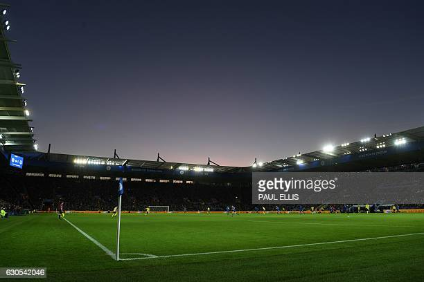 General view of the pitch during play in the second half of the English Premier League football match between Leicester City and Everton at King...
